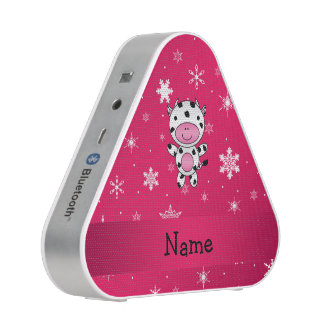 Personalized name cow pink snowflakes bluetooth speaker