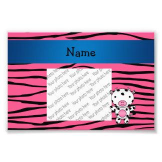 Personalized name cow pink zebra stripes photo print
