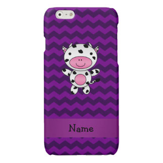 Personalized name cow purple chevrons iPhone 6 plus case