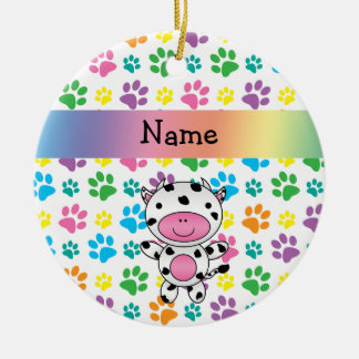 Personalized name cow rainbow paws round ceramic decoration