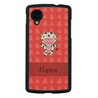 Personalized name cow red christmas trees carved® maple nexus 5 slim case