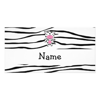 Personalized name cow zebra stripes picture card