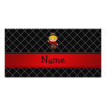 Personalized name cowboy black grid pattern photo cards