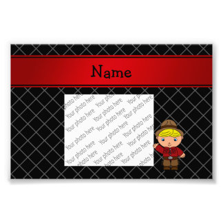 Personalized name cowboy black grid pattern photo art
