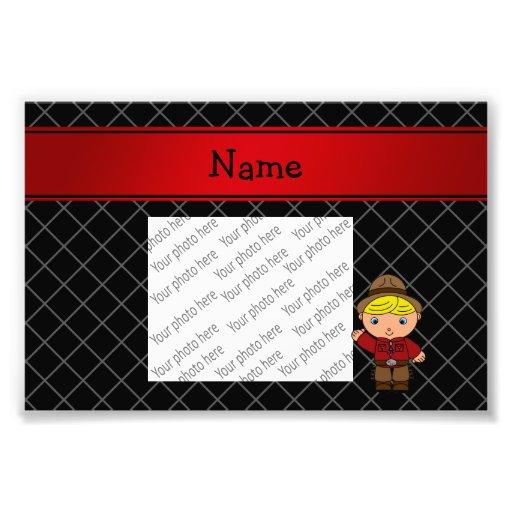 Personalized name cowboy black grid pattern photo art