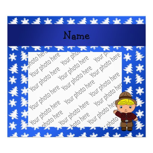 Personalized name cowboy blue snowflakes trees photographic print