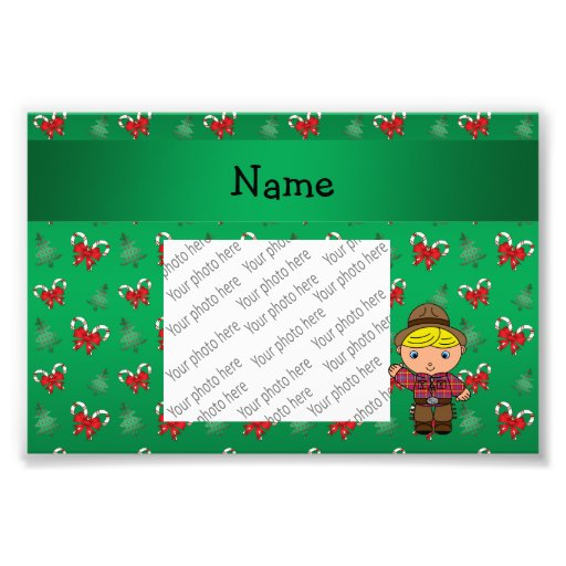 Personalized name cowboy green candy canes bows photo art