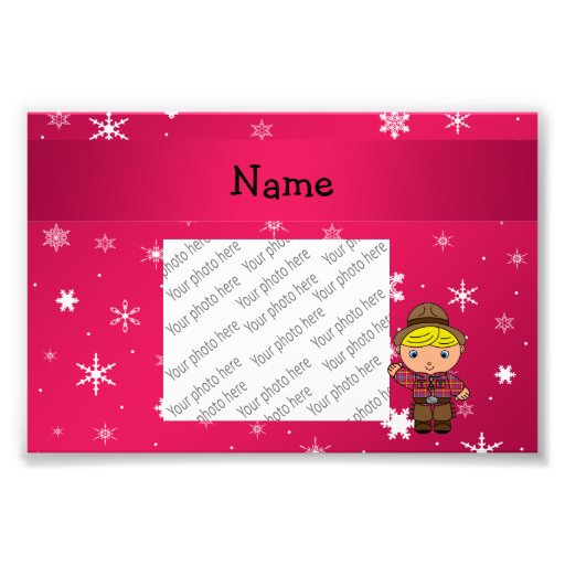 Personalized name cowboy pink snowflakes photographic print