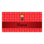 Personalized name cowboy red christmas trees photo card
