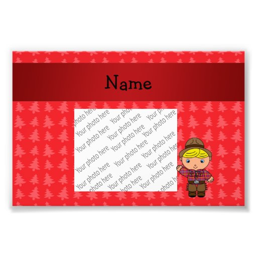 Personalized name cowboy red christmas trees photo art