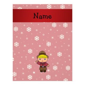 Personalized name cowboy red snowflakes 21.5 cm x 28 cm flyer