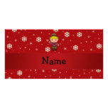 Personalized name cowboy red snowflakes photo card template