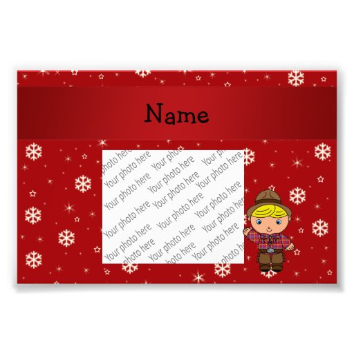 Personalized name cowboy red snowflakes art photo