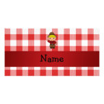 Personalized name cowboy red white checkers custom photo card