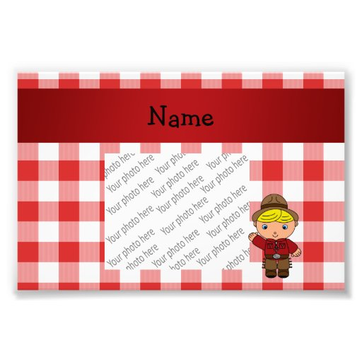 Personalized name cowboy red white checkers photo
