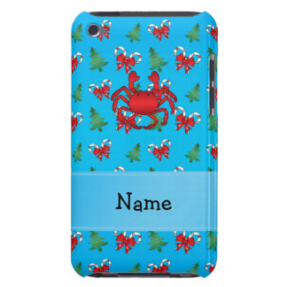 Personalized name crab blue candy canes bows iPod Case-Mate case