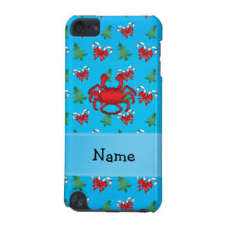 Personalized name crab blue candy canes bows iPod touch (5th generation) cases