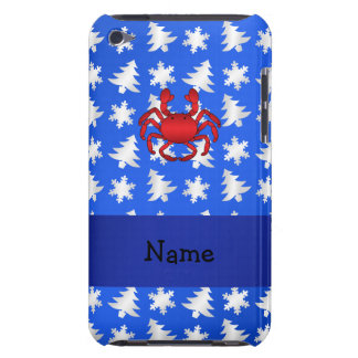 Personalized name crab blue snowflakes trees barely there iPod cases
