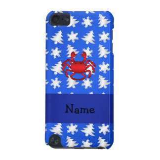 Personalized name crab blue snowflakes trees iPod touch (5th generation) cover