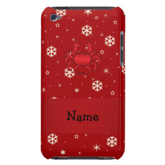 Personalized name crab red snowflakes barely there iPod case