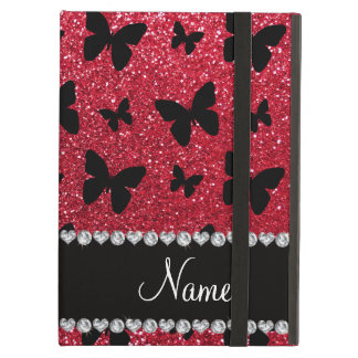 Personalized name crimson red glitter butterflies iPad air cover