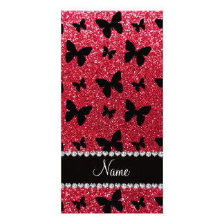 Personalized name crimson red glitter butterflies photo card template