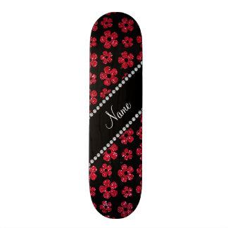 Personalized name crimson red glitter flowers 21.6 cm old school skateboard deck
