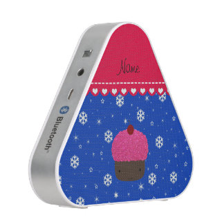 Personalized name cupcake blue snowflakes speaker