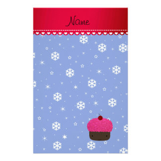 Personalized name cupcake blue snowflakes personalized stationery