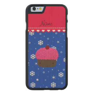 Personalized name cupcake blue snowflakes carved® maple iPhone 6 case