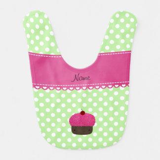 Personalized name cupcake green polka dots baby bib