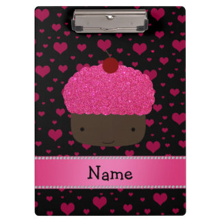 Personalized name cupcake pink hearts on black clipboard