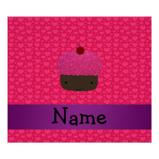 Personalized name cupcake pink hearts print