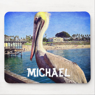 Personalized name cute beach pier pelican photo mouse mat