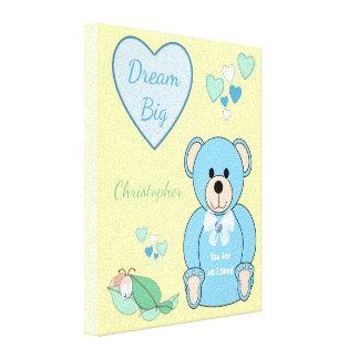 Personalized name Cute blue Teddy Bear Nursery Canvas Print