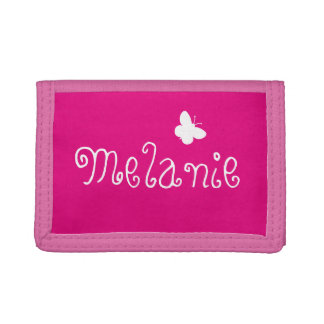 Personalized name cute butterfly girly pink kids trifold wallets