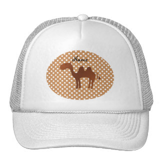 Personalized name cute camel brown polka dots trucker hat
