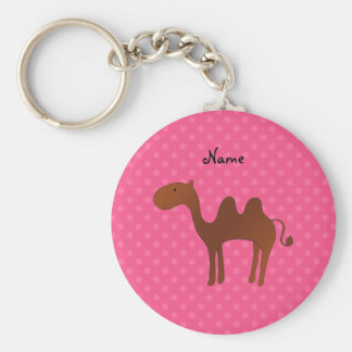 Personalized name cute camel pink polka dots basic round button key ring