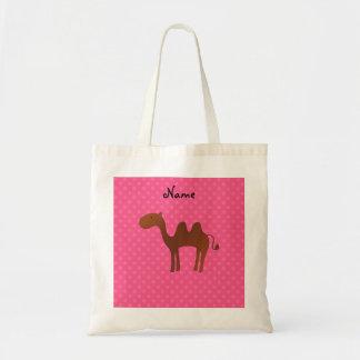 Personalized name cute camel pink polka dots tote bag