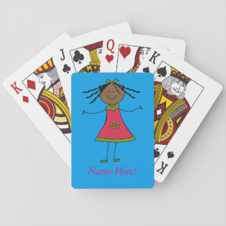 Personalized Name Cute Ethnic Girl Birthday Fun Poker Deck