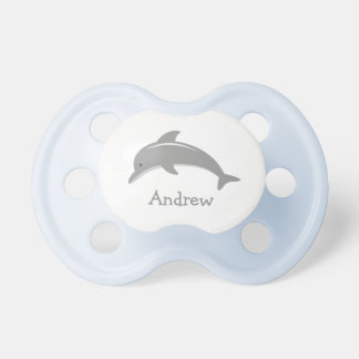 Personalized name cute grey dolphin baby pacifier