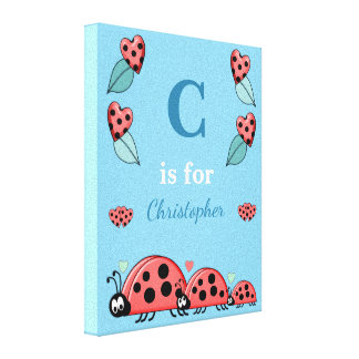 Personalized name Cute Ladybirds Nursery blue Canvas Print