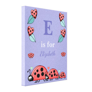 Personalized name Cute Ladybirds Nursery purple Canvas Print