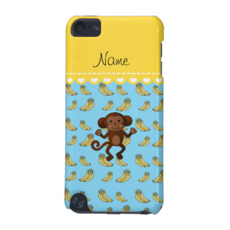 Personalized name cute monkey blue yellow bananas iPod touch 5G cases