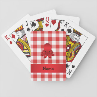 Personalized name cute octopus red checkers playing cards