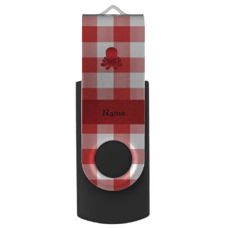 Personalized name cute octopus red checkers swivel USB 2.0 flash drive