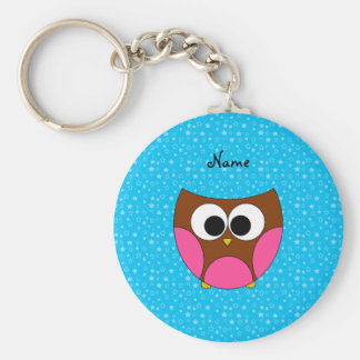 Personalized name cute owl basic round button key ring