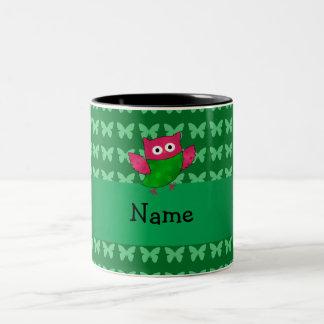 Personalized name cute owl green butterflies coffee mugs