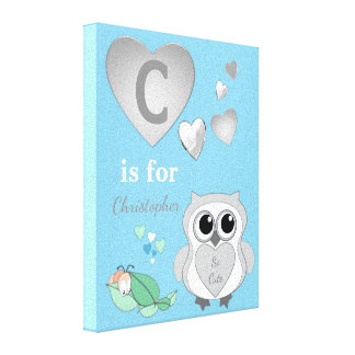 Personalized name Cute Owl Nursery blue Canvas Print