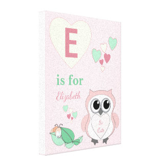 Personalized name Cute Owl Nursery pink Canvas Print